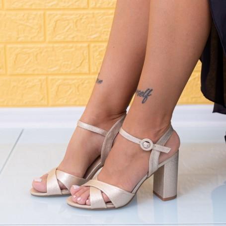 Sandale Dama cu Toc gros JSZ2A Auriu Mei