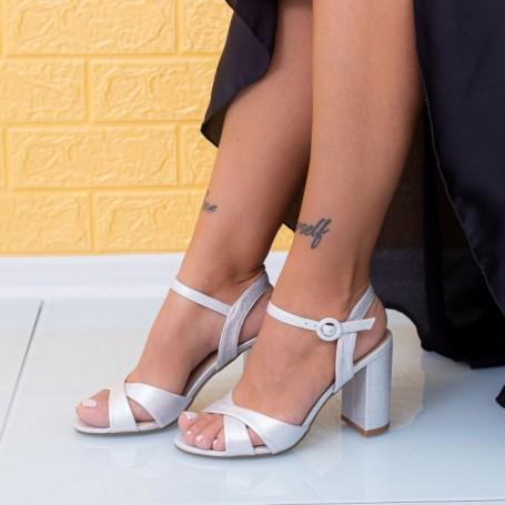 Sandale Dama cu Toc gros JSZ2A Argintiu Mei