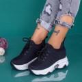 Pantofi Sport Dama cu Platforma KDN18 Negru (B53) Mei