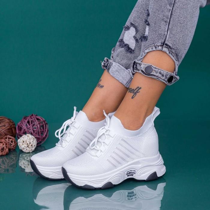 Pantofi Sport Dama cu Platforma KDN18 Alb Mei
