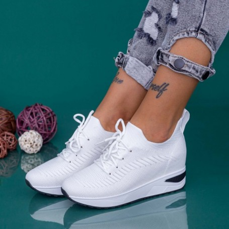 Pantofi Sport Dama cu Platforma KDN19 Alb Mei
