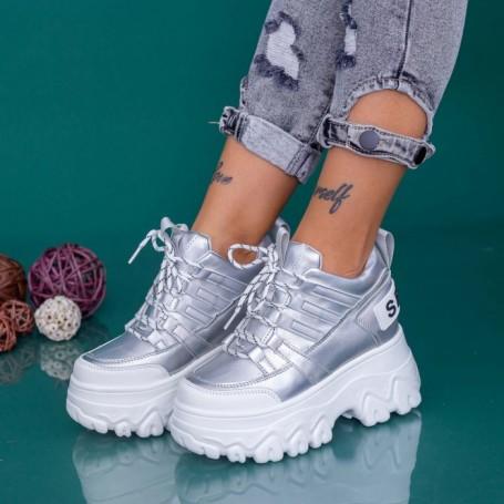 Pantofi Sport Dama cu Platforma WLGH68 Argintiu Mei
