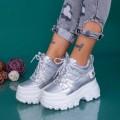 Pantofi Sport Dama cu Platforma WLGH68 Argintiu (M35) Mei