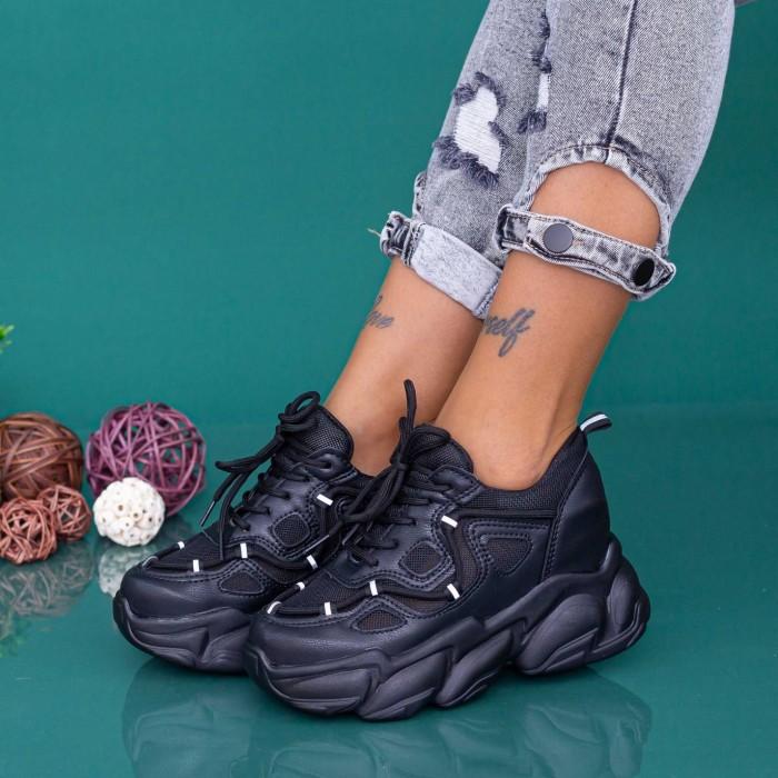 Pantofi Sport Dama cu Platforma WLGH69 Negru Mei