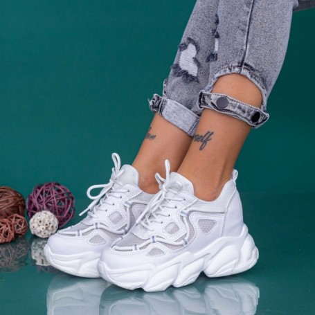 Pantofi Sport Dama cu Platforma WLGH69 Alb Mei