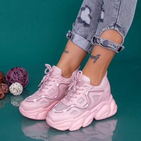 Pantofi Sport Dama cu Platforma WLGH69 Roz Mei