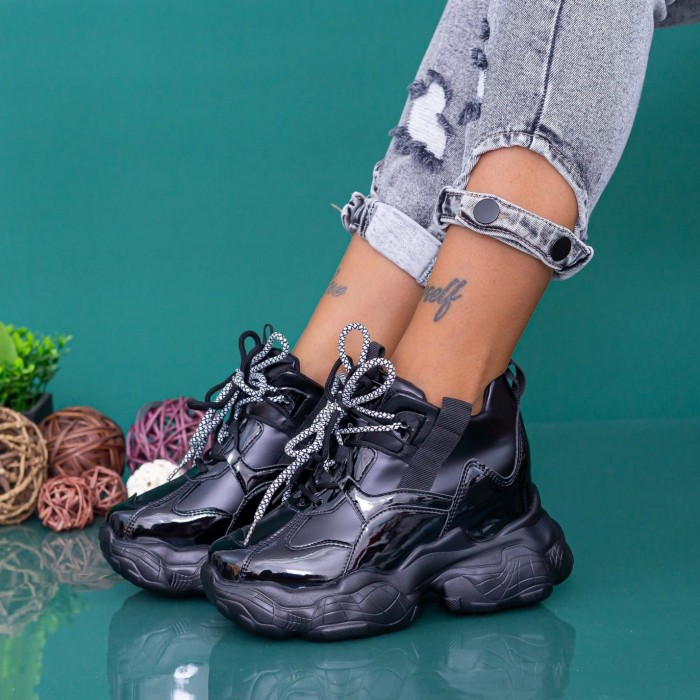 Pantofi Sport Dama cu Platforma WLGH70 Negru Mei