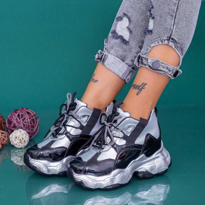 Pantofi Sport Dama cu Platforma WLGH70 Negru-Alb Mei