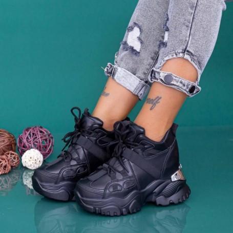 Pantofi Sport Dama cu Platforma WLGH71 Negru Mei