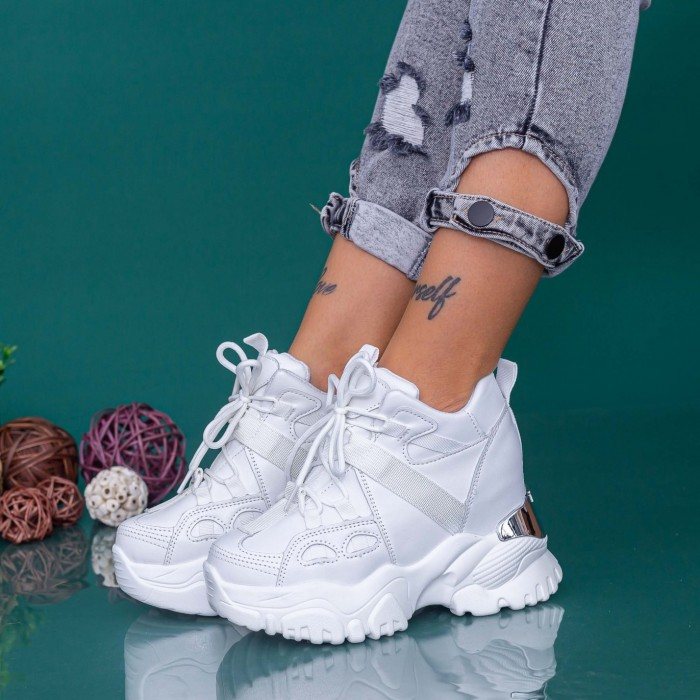 Pantofi Sport Dama cu Platforma WLGH71 Alb Mei