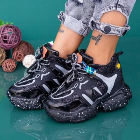 Pantofi Sport Dama cu Platforma WLGH72 Negru Mei
