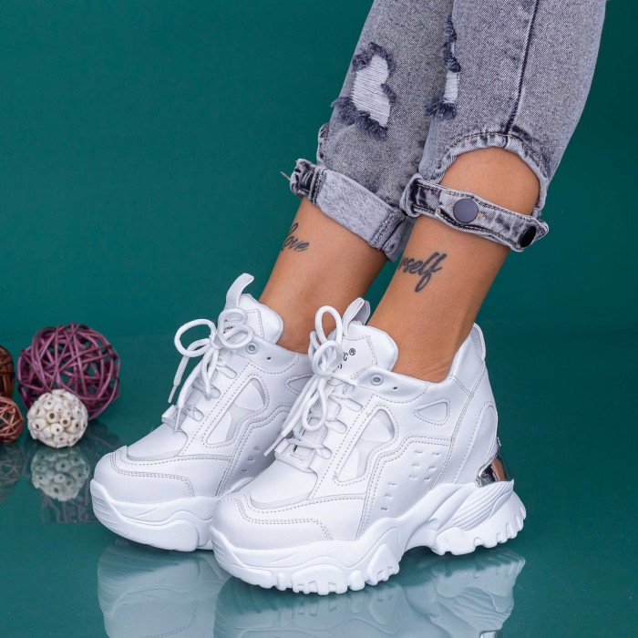 Pantofi Sport Dama cu Platforma WLGH76 Alb Mei