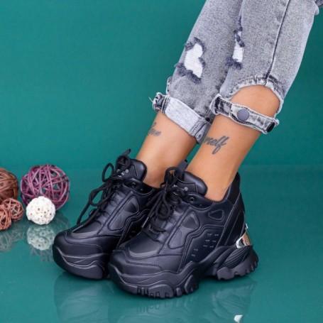 Pantofi Sport Dama cu Platforma WLGH76 Negru Mei
