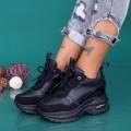 Pantofi Sport Dama cu Platforma YKQ238 Negru (K48) Mei