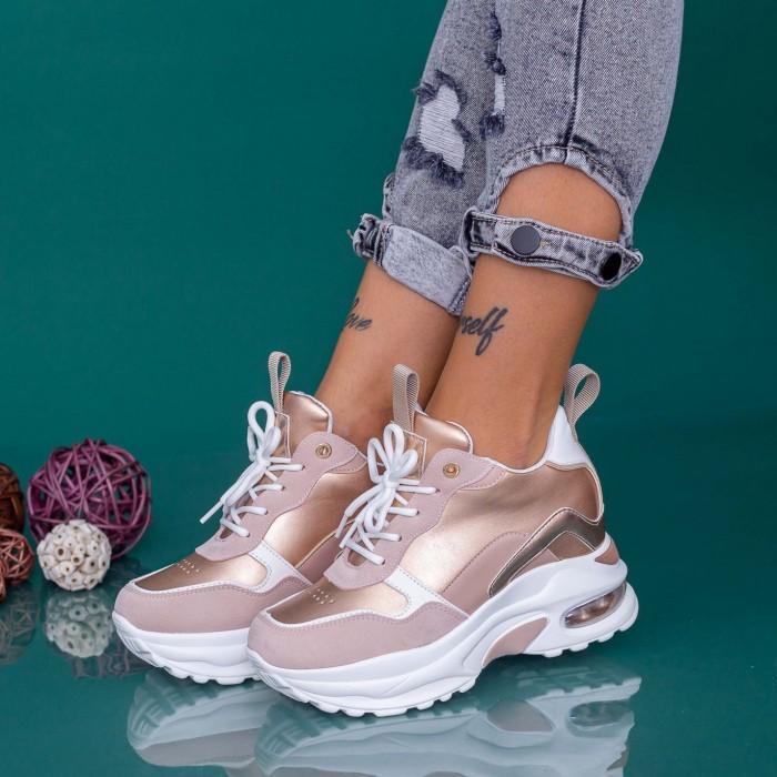 Pantofi Sport Dama cu Platforma YKQ238 Champagne Mei