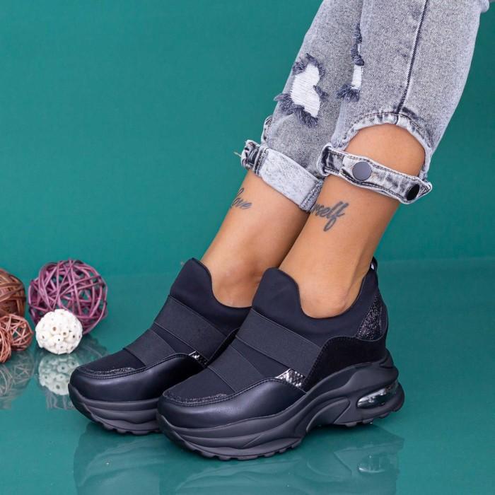Pantofi Sport Dama cu Platforma YKQ237 Negru Mei