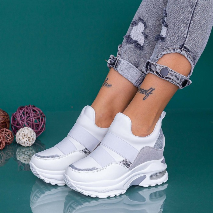 Pantofi Sport Dama cu Platforma YKQ237 Alb-Argintiu Mei