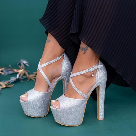 Sandale Dama cu Toc gros si Platforma HLX72A Silver Mei